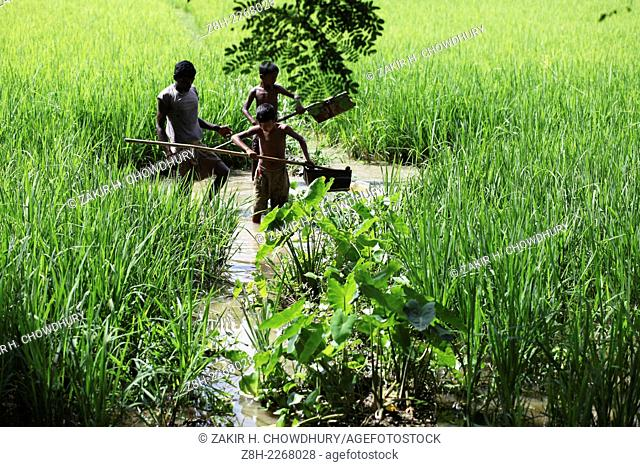Children are watering their cropsland.Villages and rivers are the backbone of Bangladesh. There are about 68,000 villages in Bangladesh