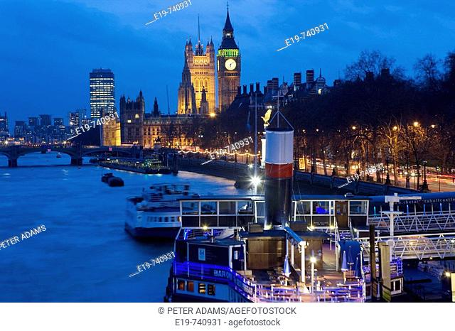 River Thames & Houses of Parliament, London, UK