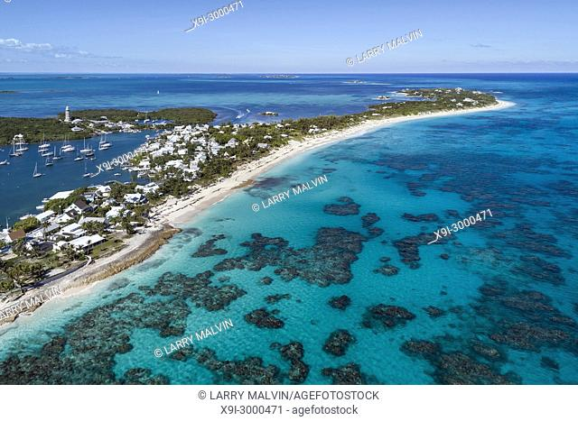 Aerial view of the harbour, lighthouse and beach in Hope Town on Elbow Cay off the island of Abaco, Bahamas