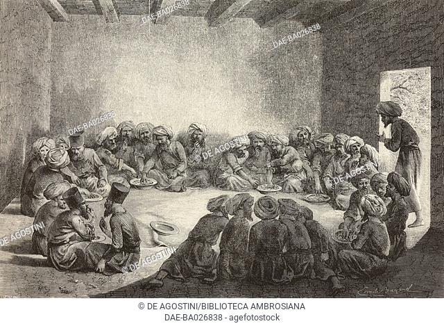 Sharing a meal with the Turkmen, Uzbekistan, drawing by Emile Bayard (1837-1891), from Travels in central Asia (1863) by Armin Vambery