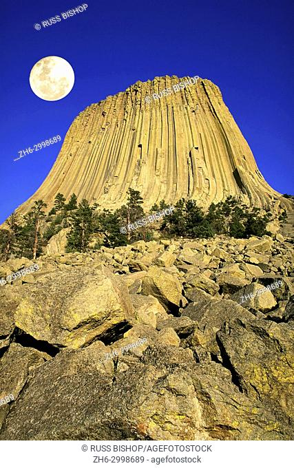 Full moon over Devils Tower, Devils Tower National Monument, Wyoming USA