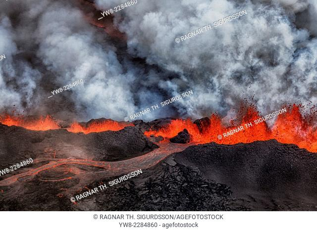 Lava and plumes from the Holuhraun Fissure by the Bardarbunga Volcano, Iceland. August 29, 2014, a fissure eruption started in Holuhraun at the northern end of...