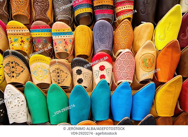 Moroccan Babouches or Leather Slippers shop. Souk Medina of Fez, Fes el Bali. Morocco, Maghreb North Africa
