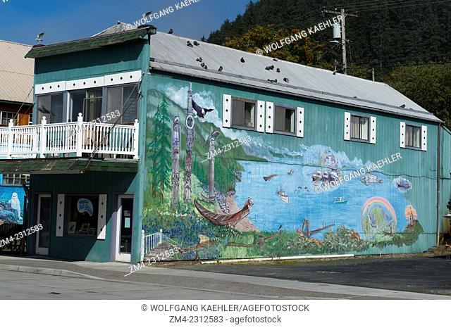 Mural on a house on Main Street in Wrangell city on Wrangell Island, Tongass National Forest, Southeast Alaska, USA