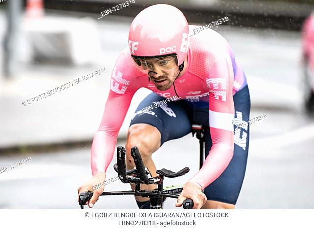 Alex Howes at Zumarraga, at the first stage of Itzulia, Basque Country Tour. Cycling Time Trial race