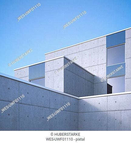 Modern concrete architecture, 3D Rendering