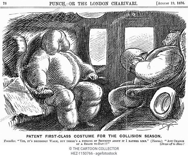 'Patent First-Class Costume for the Collision Season', 1876. Travel by train was a risky business in the 1870s and collisions were not uncommon
