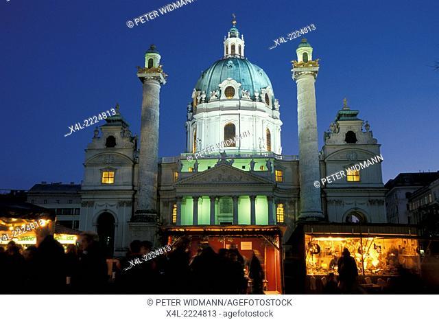 Christmas market at Karl s Cathedral Vienna, Austria, Vienna, 4. district, Karl s church