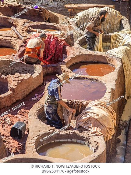 Leather tannery from 10th Century in Medina if Fez, Morocco