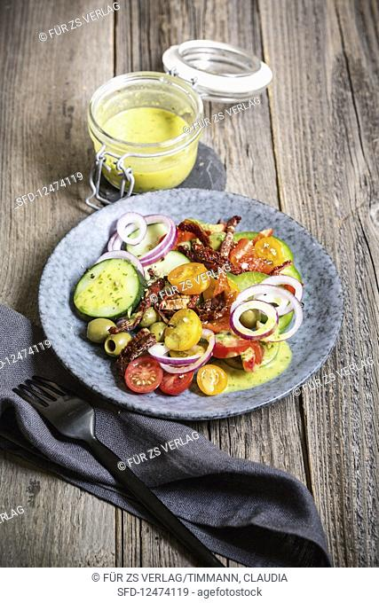 Raw antipasti vegetables with lemon dressing (low GL)