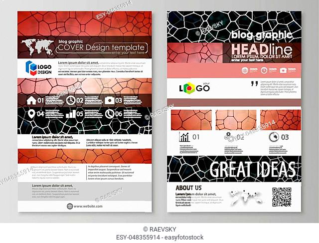 Blog graphic business templates. Page website design template, easy editable abstract vector layout. Chemistry pattern, molecular texture
