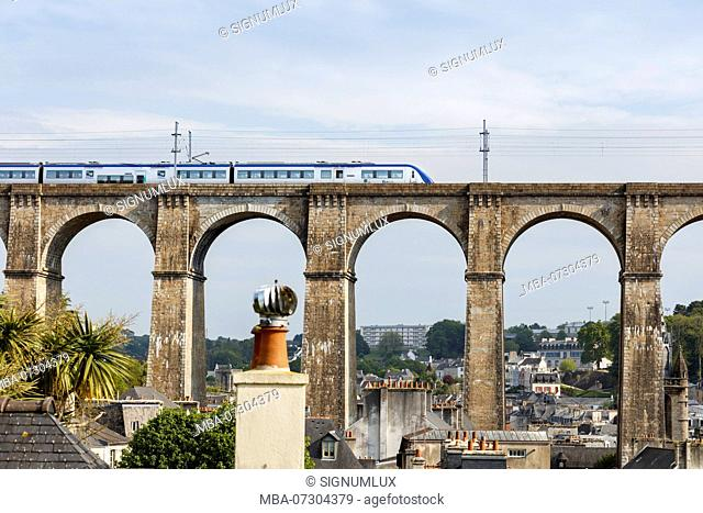 Europe, France, Brittany, Morlaix, view of the railway viaduct