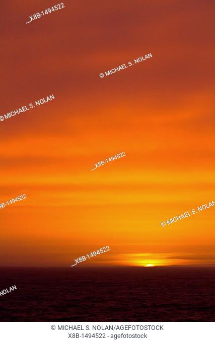 Sunrise on the eastern side of the Antarctic Peninsula in the Weddell Sea, Antarctica  MORE INFO The Weddell Sea is often blocked to ship navigation due to ice...