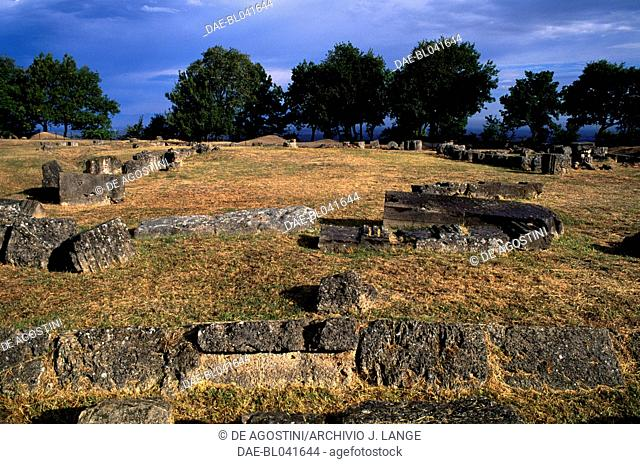 Ruins of the archaeological site of Aigai, Vergina (UNESCO World Heritage List, 1996), Macedonia, Greece. Macedonian civilisation, 4th century BC