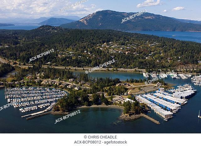 Marinas aerial, near Sidney, Vancouver Island, British Columbia, Canada