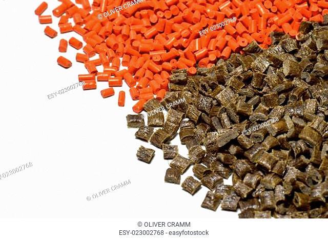 verschiedene gefärbte Kunststoff Granulate