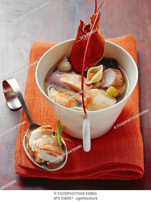 Lobster minestrone with shellfish