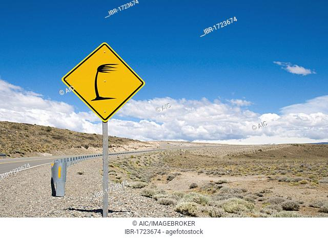Traffic road sign on the Ruta Nacional 40, caution, strong side winds, Santa Cruz, Patagonia, Argentina