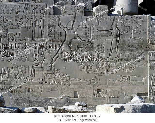 Seti I's campaigns in Syria and Palestine, relief, north exterior wall of the Great Hypostyle Hall, Karnak temple complex (Unesco World Heritage List, 1979)
