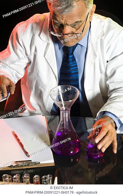Scientist doing scientific experiment in a laboratory