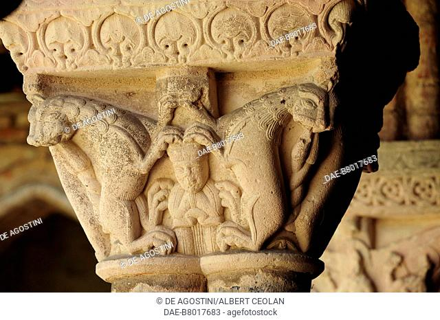 Capital with lions and a human figure, 1100, cloister of Saint-Pierre Abbey (UNESCO World Heritage Site, 1998), Moissac, Occitanie, France, 12th century