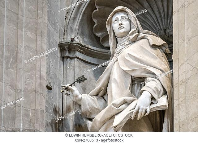 Rome, Italy- Close up of a Roman sculpture on the exterior of (New) St. Peter's Basilica located in Vatican City (an enclave of Rome)