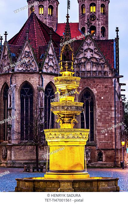 Fountain on Altstadtmarkt in Braunschweig Braunschweig (Brunswick), Lower Saxony, Germany