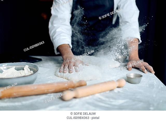 Chef working with pastry dough