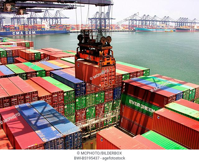 Container ship in China, Yantian cargo port, China