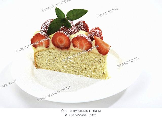 Piece of srawberry cake on plate