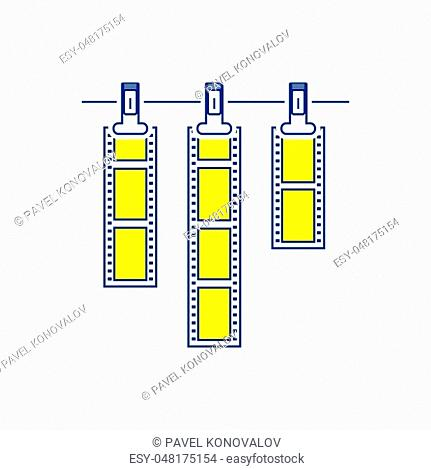 Icon of photo film drying on rope with clothespin. Thin line design. Vector illustration