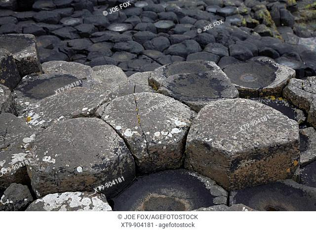 different coloured red basalt hexagonal rock formations at the giants causeway county antrim northern ireland uk