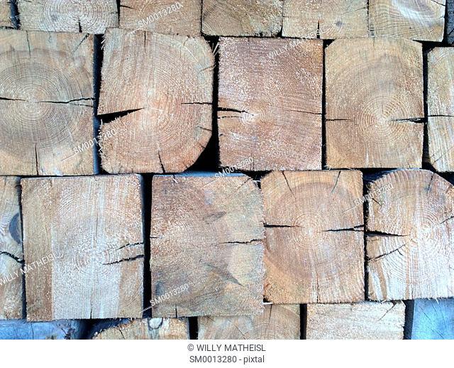 pile of wooden beams