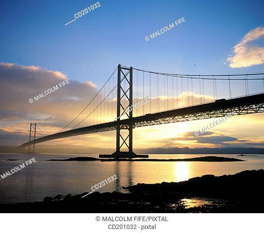 Forth Road Bridge at sunset, near Edinburgh. Scotland