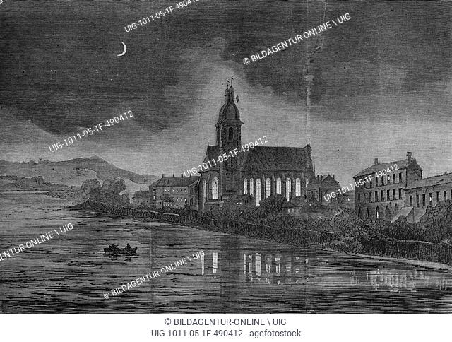 Nightview of the seminary church in pont-a-masson, illustrated war history, german - french war 1870-1871