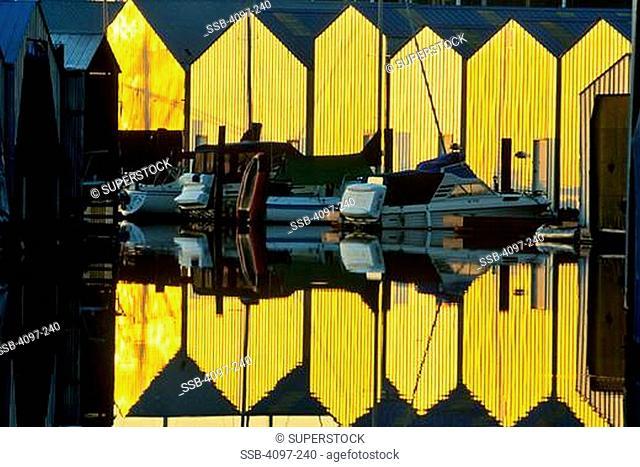 Boats in the sea, Sidney, Victoria, Vancouver Island, British Columbia, Canada