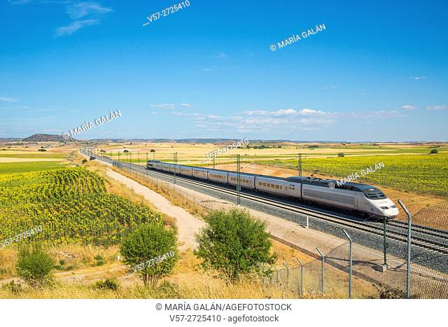AVE High-speed train traveling along Cuenca province. Castilla La Mancha, Spain