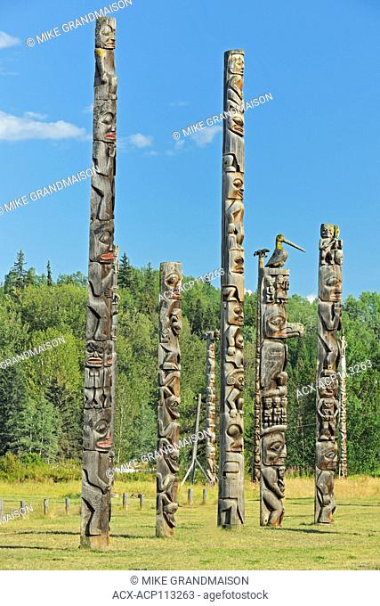 Kitwanga Totem Poles. Gitwangak or Gitwangax. Gitanyow. Gitksan people. Northwest Coast First Nations. Nass Range of mountains , Kitwanga, British Columbia