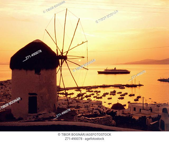 Windmills at dusk. Mykonos. Greece