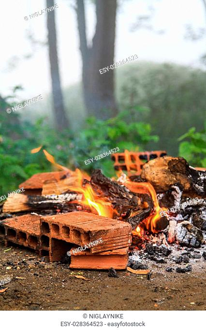 Fire with bricks in foggy forest