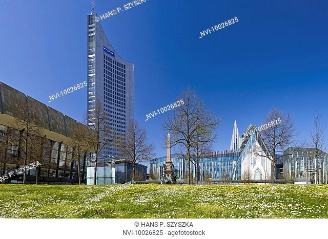 Augustusplatz with City skyscraper, New Augusteum, Mende Fountain, Leipzig, Saxony, Germany