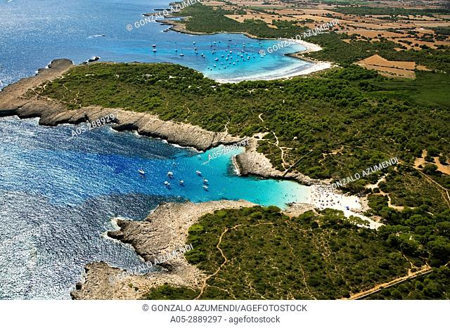 Cala Es Talaier Beach and Son Saura. Minorca. Balearic Island. Spain