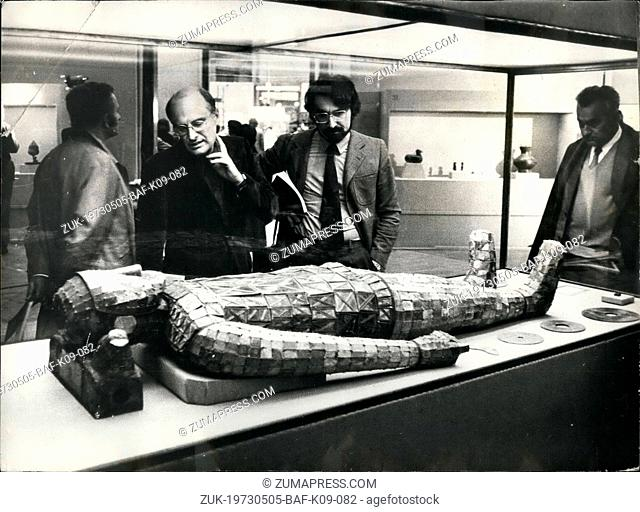 May 05, 1973 - Chinese art treasures on show in Paris. An exhibition of recently excavated ancient Chinese works of art, one on exhibition at the Petit Palais...