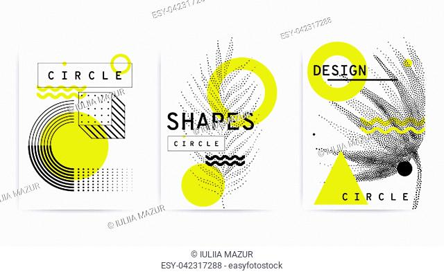 Universal trend posters set juxtaposed with bright bold geometric leaves foliage yellow elements composition. Background in restrained sustained tempered style