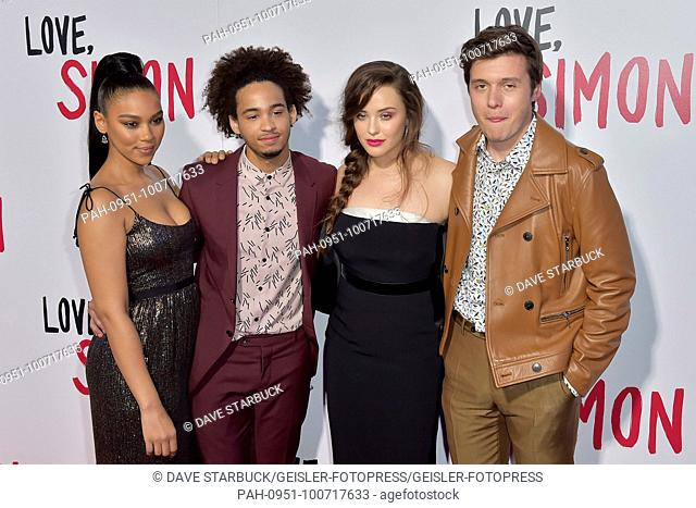Alexandra Shipp, Jorge Lendeborg, Katherine Langford and Nick Robinson attending the 'Love, Simon' special screening at Westfield Century City on March 13