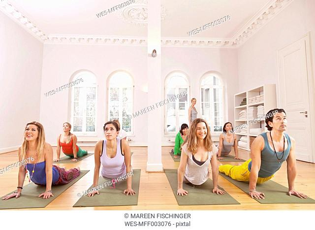 Group of people in yoga studio holding cobra pose