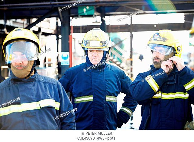 Firemen in firewear ready for training, Darlington, UK