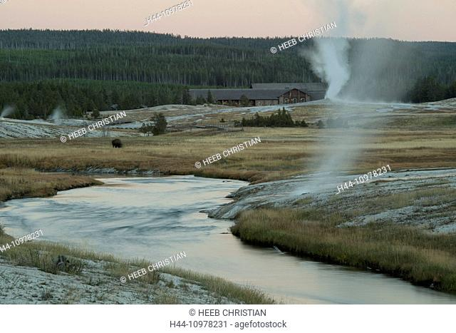USA, United States, America, Wyoming, Rockies, Rocky Mountains, Yellowstone, National Park, UNESCO, World Heritage, Upper Geyser Basin, Fire hole river, river