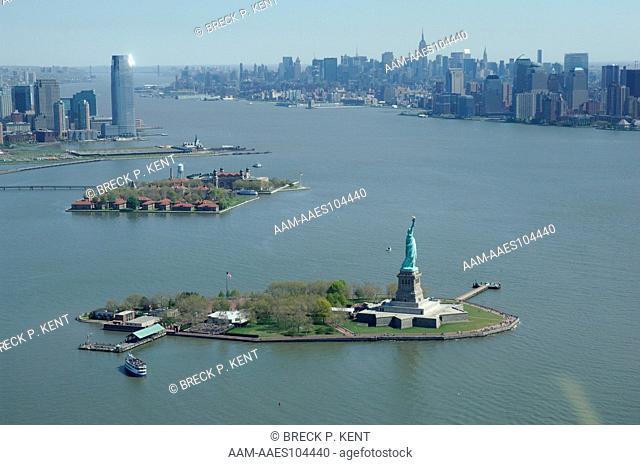 Statue of Liberty, Ellis Island New York Harbor, Hudson River, aerial