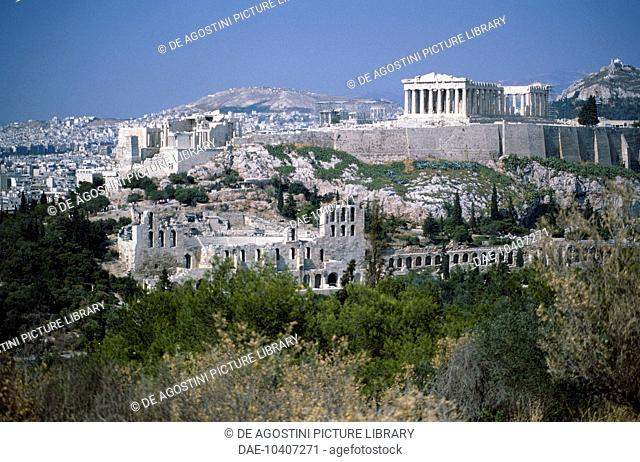 View of the Acropolis of Athens (UNESCO World Heritage List, 1987) with the Propylaea and the Parthenon, 5th century BC, and, below